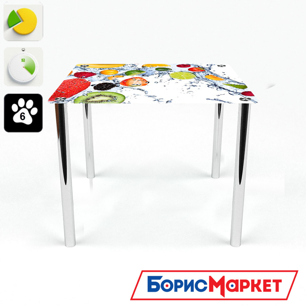 Обеденный стол стеклянный (фотопечать) Квадратный   Fruit Shake от БЦ-Стол