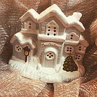 Керамическое изделие из глины ручной работы Светильник ДОМИК НОВОГОДНИЙ Размер: 15 х 18 см.