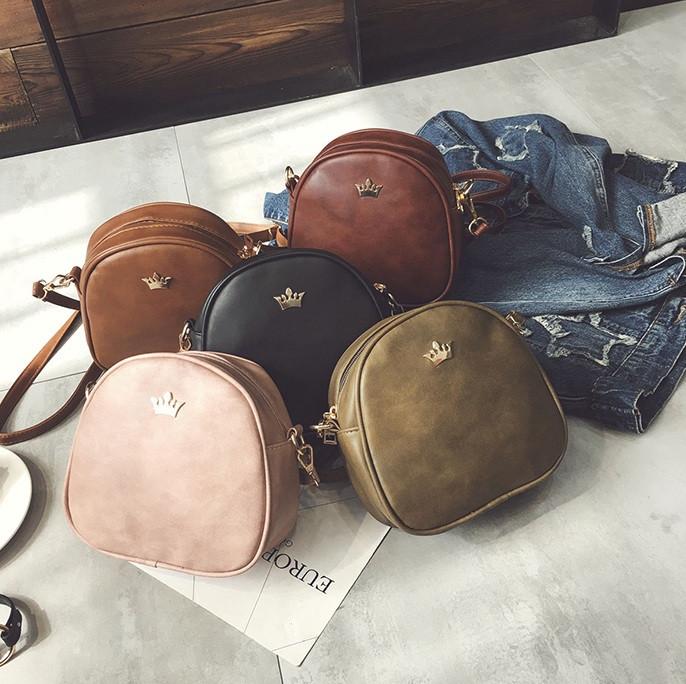 Женская мини сумка с короной через плечо, маленькая сумочка для девушек эко кожа корона