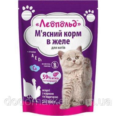 Влажный корм для кошек Леопольд Мясное ассорти с курицей и индюшкой в желе 24 шт/100 гр