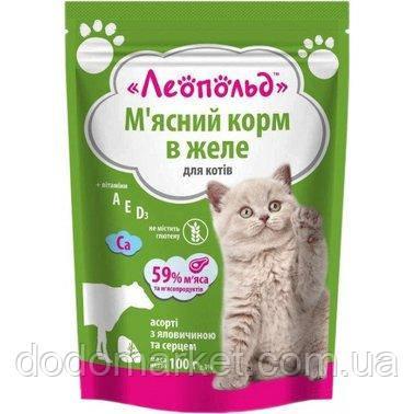 Влажный корм для кошек Леопольд Мясное ассорти с говядиной и сердцем в желе 24 шт/100 гр