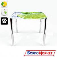 Обеденный стол стеклянный (фотопечать) Квадратный Ice lime от БЦ-Стол 700х700 *Эко