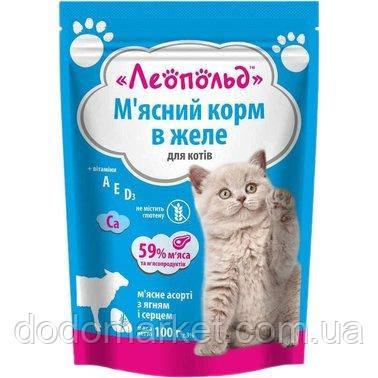 Влажный корм для кошек Леопольд Мясное ассорти с ягненком и сердцем в желе 24 шт/100 гр
