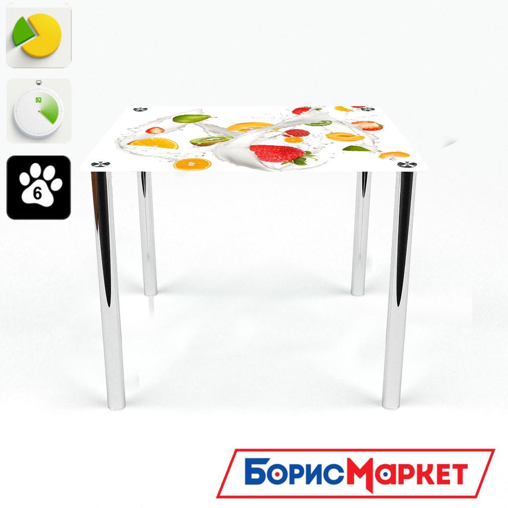 Обеденный стол стеклянный (фотопечать) Квадратный Milkshake от БЦ-Стол 700х700 *Эко