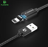 Магнитный кабель Floveme 3А USB iphone lightning apple 100см Магнитная зарядка 1м Черный