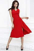c1480807607 Эффектное платье А-силуэта. Цвет насыщенный красный.