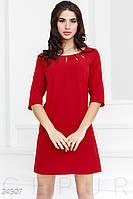 e28f560681f Прямое праздничное платье. Цвет насыщенный красный.