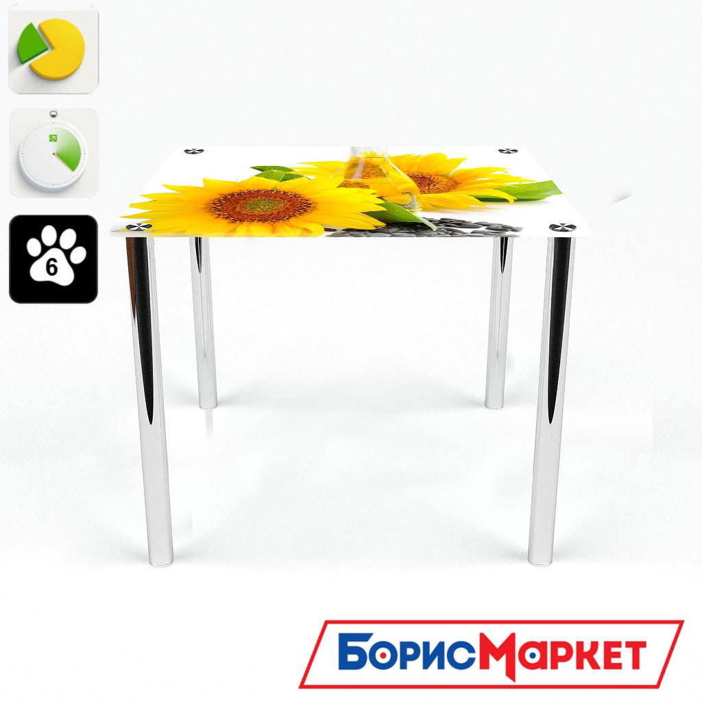 Обеденный стол стеклянный (фотопечать) Квадратный Sunflower от БЦ-Стол 700х700 *Эко