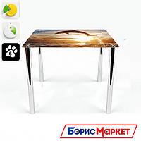 Обеденный стол стеклянный (фотопечать) Квадратный Sunset от БЦ-Стол 700х700 *Эко