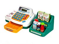 Детский кассовый аппарат с продуктами, деньгами световыми и звуковыми эффектами