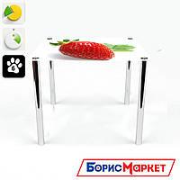 Обеденный стол стеклянный (фотопечать) Квадратный Sweet berry от БЦ-Стол 700х700 *Эко