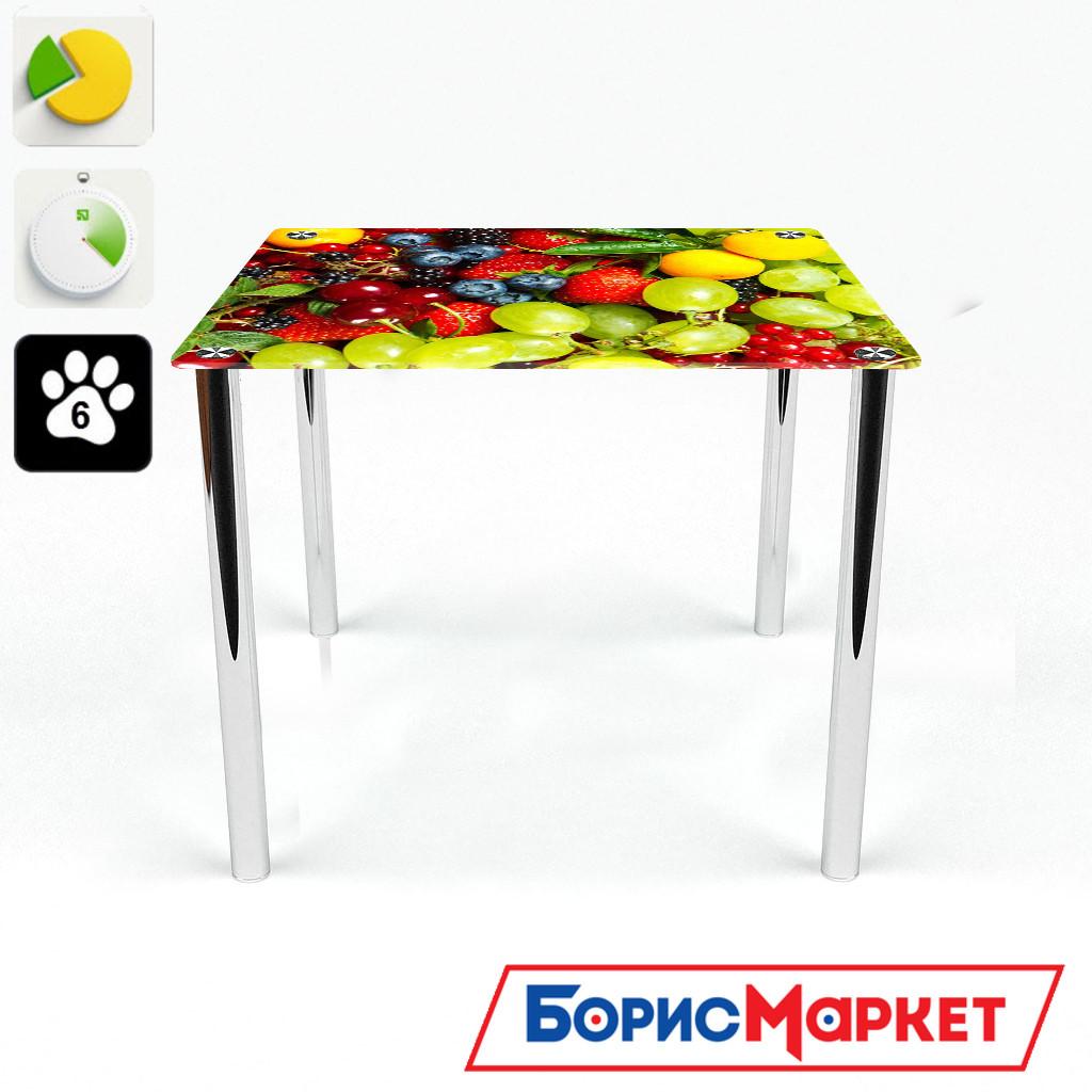 Обеденный стол стеклянный (фотопечать) Квадратный Wood berry от БЦ-Стол 700х700 *Эко