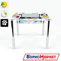 Обеденный стол стеклянный (фотопечать) Квадратный с полкой Berry Mix  от БЦ-Стол 700х700 *Эко