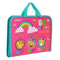 Папка-портфель на молнии с тканевыми ручками Smiley World(pink)