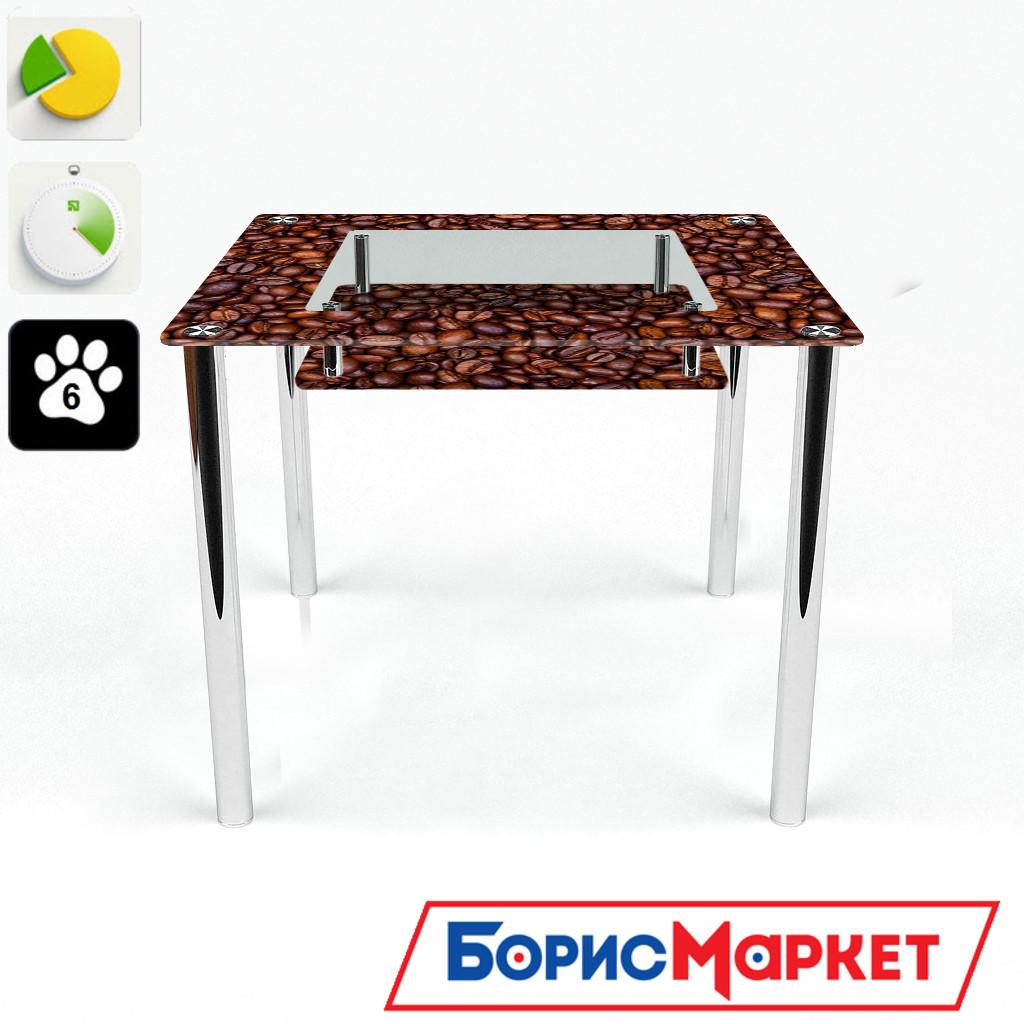 Обеденный стол стеклянный (фотопечать) Квадратный с полкой Coffee aroma  от БЦ-Стол 700х700 *Эко