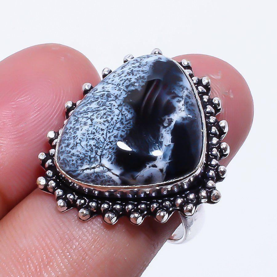 Кольцо дендритовый опал размер 17-17,5 кольцо с дендро-опалом в серебре Индия