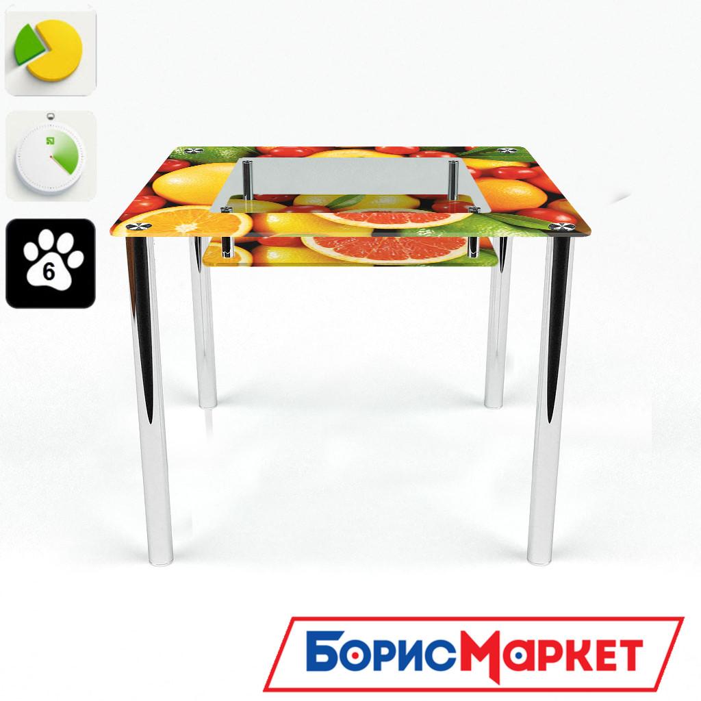 Обеденный стол стеклянный (фотопечать) Квадратный с полкой  Fruit от БЦ-Стол 700х700 *Эко