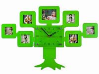 Часы Настенные Фигурные. Дерево (60х40х5 см) Family Tree. Семейное Дерево 7 фото. Зелёные