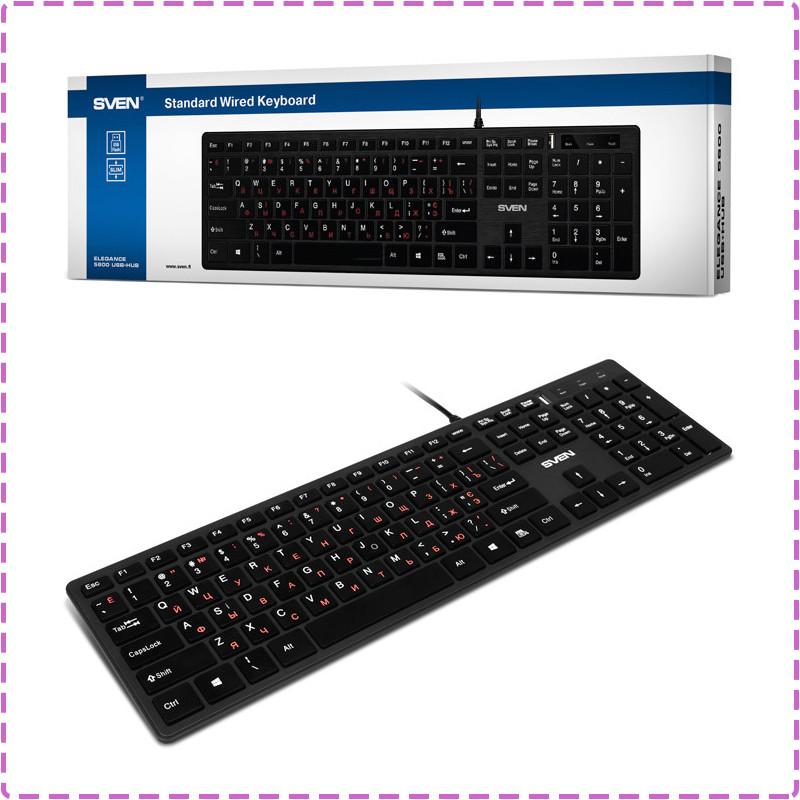 Клавиатура SVEN Elegance 5600 USB+HUB, Black