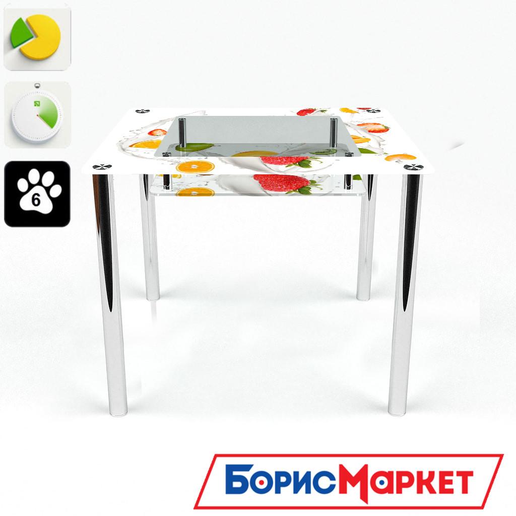 Обеденный стол стеклянный (фотопечать) Квадратный с полкой Milkshake от БЦ-Стол 700х700 *Эко