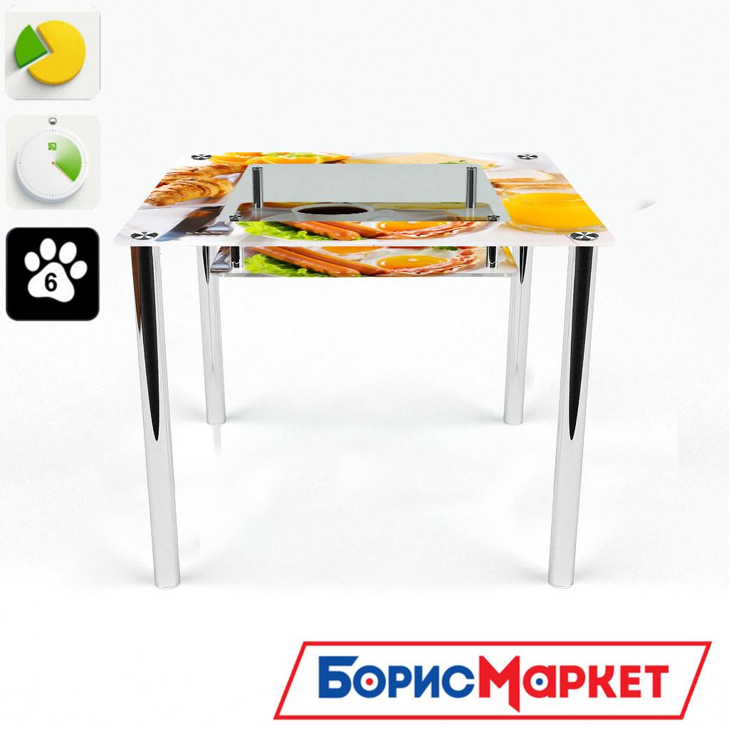 Обеденный стол стеклянный (фотопечать) Квадратный с полкой Nice breakfast от БЦ-Стол 700х700 *Эко