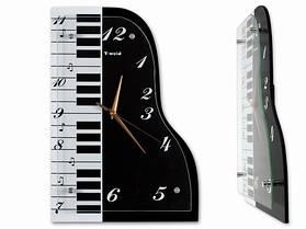 Часы Настенные Фигурные (39х27х5 см) Дерево. Grand Piano. Рояль. Черный. Стекло
