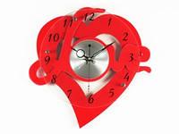 Часы Настенные Фигурные (35х35х5 см) Дерево. Heart Love. Сердечная Любовь. Красный