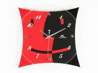 Часы Настенные Фигурные (28х28х5 см) Дерево. Humeu. Настроение. Красный с Черным