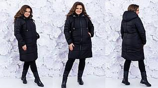 Теплая зимняя удлиненная дутая стеганная куртка пальто с капюшоном, батал большие размеры