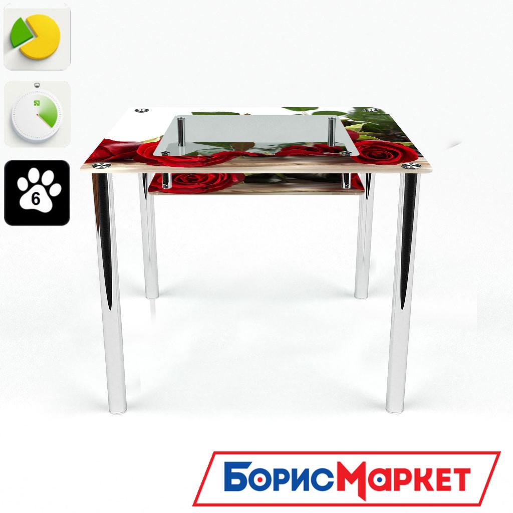 Обеденный стол стеклянный (фотопечать) Квадратный с полкой Red Roses от БЦ-Стол 700х700 *Эко