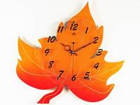 Часы Настенные Фигурные. Дерево (46х46х5 см) Maple Leaf. Лист Клёна. Желтый