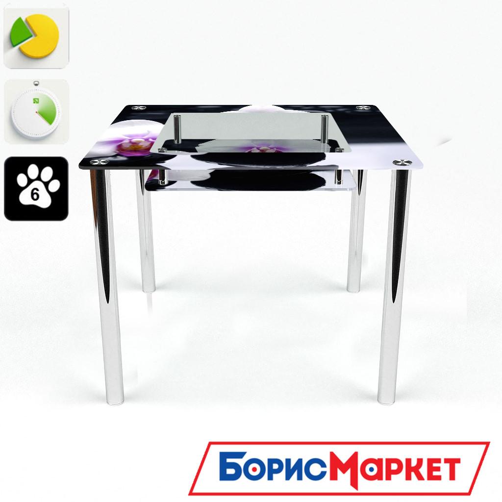 Обеденный стол стеклянный (фотопечать) Квадратный с полкой Relax  от БЦ-Стол