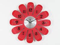 Часы Настенные Фигурные (40х40х5 см) Дерево. Marguerite. Ромашка. Красный