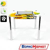 Обеденный стол стеклянный (фотопечать) Квадратный с полкой Sunflower от БЦ-Стол 700х700 *Эко