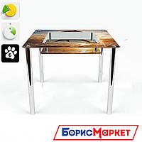 Обеденный стол стеклянный (фотопечать) Квадратный с полкой Sunset от БЦ-Стол 700х700 *Эко