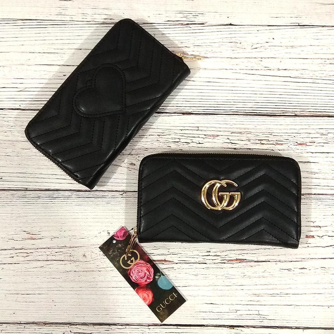 Стильный женский кошелек, клатч Gucci, гучи. Черный. Кожа PU
