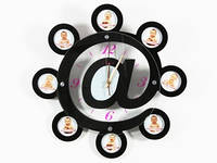 Часы Настенные Фигурные (40х40х5 см) Дерево. Sur@. При@. Черный. Стекло. 8 фото