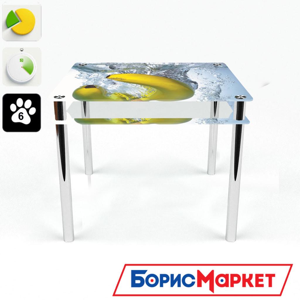 Обеденный стол стеклянный (фотопечать) Квадратный с проходящей полкой Banana от БЦ-Стол 700х700 *Эко