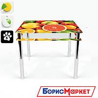 Обеденный стол стеклянный (фотопечать) Квадратный с проходящей полкой  Fruit от БЦ-Стол 700х700 *Эко