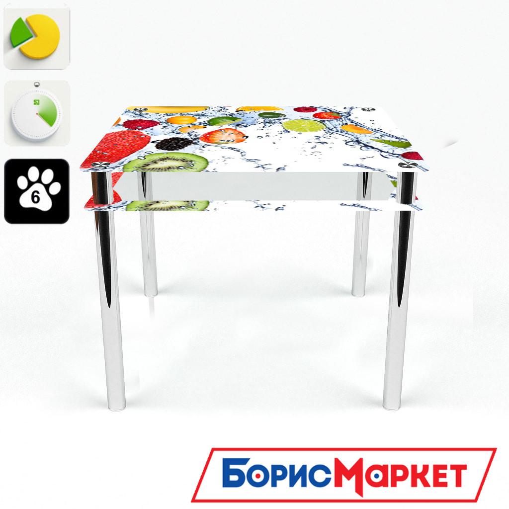 Обеденный стол стеклянный (фотопечать) Квадратный с проходящей полкой Fruit Shake от БЦ-Стол 700х700 *Эко