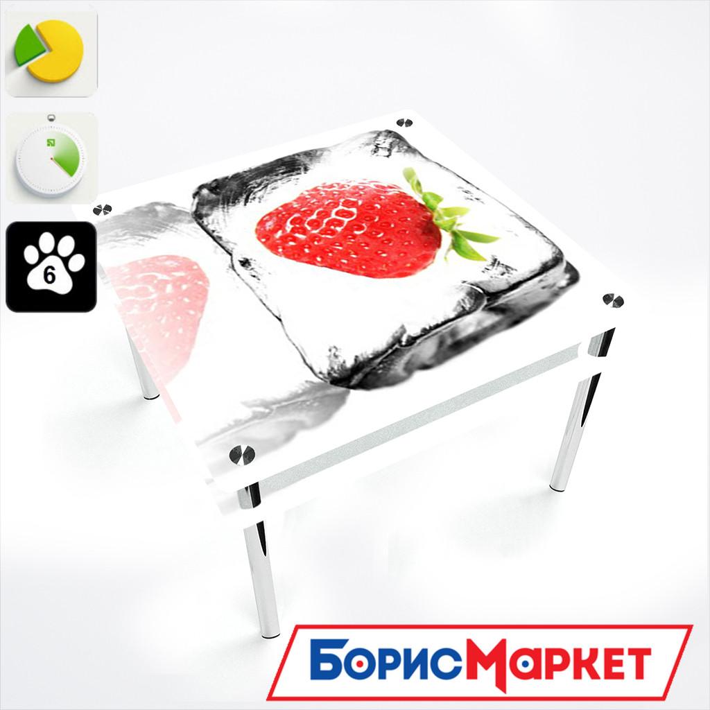 Обеденный стол стеклянный (фотопечать) Квадратный с проходящей полкой  Ice berry от БЦ-Стол 700х700 *Эко