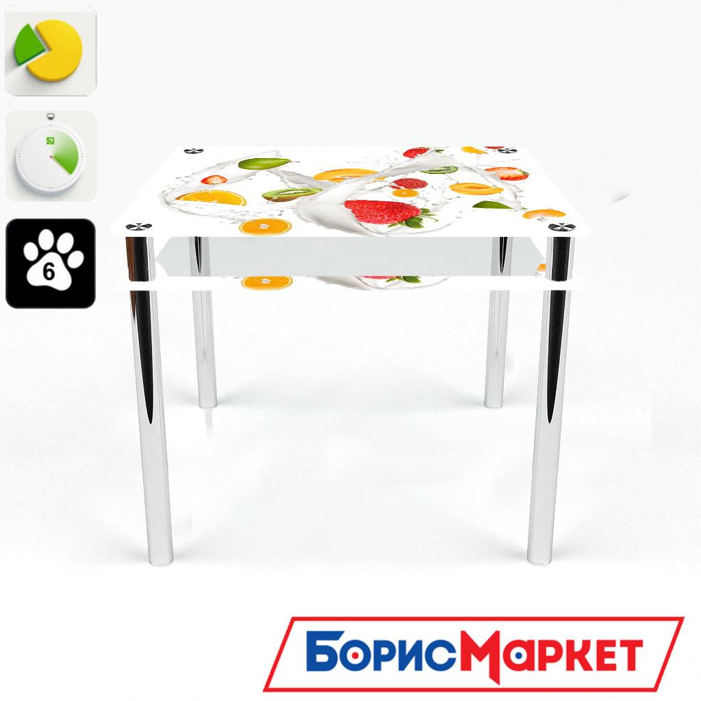 Обеденный стол стеклянный (фотопечать) Квадратный с проходящей полкой Milkshake от БЦ-Стол 700х700 *Эко