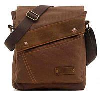 15661f279e28 Мужская сумка барсетка из хлопка и вставками из натуральной кожи K013  коричневая