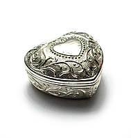 """Шкатулка для украшений """"сердечко"""" (8х8х4,5 см)(2031lq)""""серебро"""""""