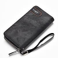 Мужской клатч-портмоне BAELLERRY Jeans Young Style на молнии Темно серый (SUN0250)