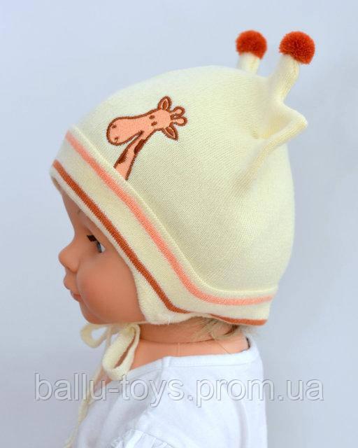 Детская вязаная шапка Жираф (1-2,5 года)