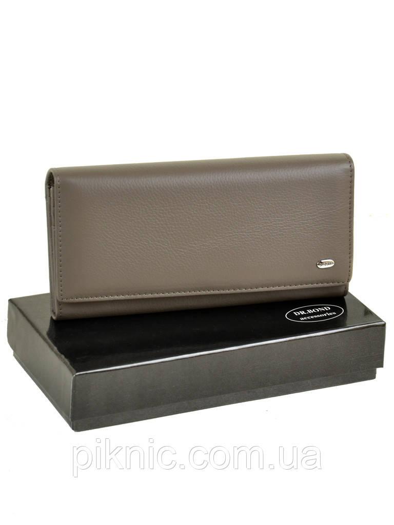 Женский кожаный кошелек, клатч, портмоне Dr Bond кнопка. Натуральная кожа. Серый