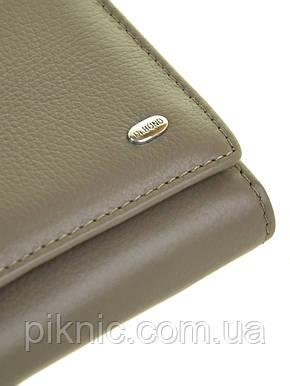 Женский кожаный кошелек, клатч, портмоне Dr Bond кнопка. Натуральная кожа. Серый, фото 2