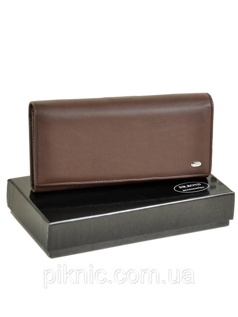 Женский кожаный кошелек, клатч, портмоне Dr Bond кнопка. Натуральная кожа. Кофе
