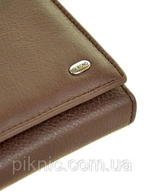 Женский кожаный кошелек, клатч, портмоне Dr Bond кнопка. Натуральная кожа. Кофе, фото 2